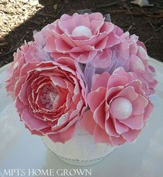 Shabby Chic Paper Flower Arrangement pinned with Pinvolve - pinvolve.co