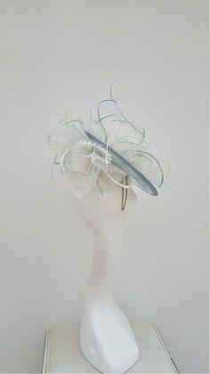 Duck egg blue forward facing disc fascinator. Wedding Hatinator.Mother of  the Bride Hat.Royal Ascot Fascinator 062fe6dcd389