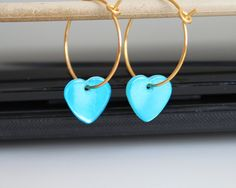 NEW Small hoop earrings turquoise blue heart by everydayTrendy, $12.50