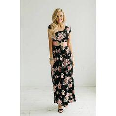 Black Roses Floral Maxi Dress - Neesee's Dresses