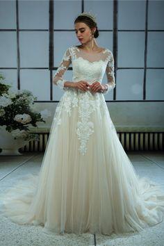 f55d47eba49c Trumpet Mermaid Jewel Long Sleeves Ivory Court Train Bridal Gown