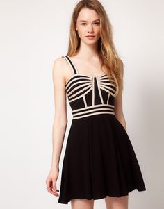 Warehouse Panelled Fit And Flare Dress