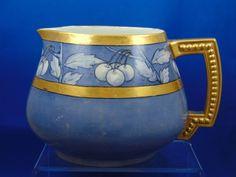 "Jean Pouyat (JP) Limoges Arts & Crafts Blue Cherry Motif Cider Pitcher (Signed ""O.F. Smith""/c.1890-1932)"