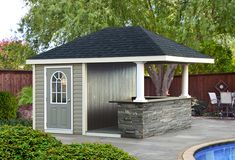 pool shed ideas free cabana plan storage shed plans pool house plans projects pool houses cabana.Even the smallest gardens can contain a pool and a pool… Prefab Pool House, Pool House Shed, Pool House Plans, Pump House, House Bar, Pool House Designs, Backyard Pool Designs, Backyard Bar, Pool Landscaping