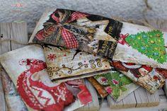 kartki świąteczne na korze, ręcznie malowane decoupage, Boże Narodzenie, prezenty