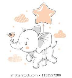 Vector illustration of a cute baby elephant flying with a balloon. Vector illustration of a cute baby elephant flying with a balloon. Baby Elephant Drawing, Cute Baby Elephant, Elephant Nursery, Flying Elephant, Brain Illustration, Elephant Illustration, Cute Illustration, Scrapbooking Image, Illustration Mignonne