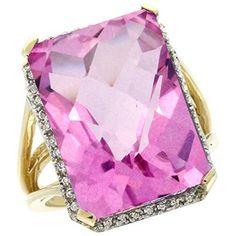 JEWELRY,  14K Yellow Gold Diamond Natural Pink Topaz Ring Emerald-cut 18x13mm, size 5