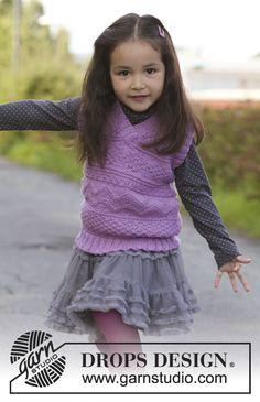 """Gilet DROPS per bambine in """"Karisma"""", in motivo di tessuto. Taglie dal 3 al 12 anni ~ DROPS Design"""