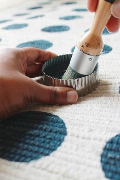 DIY Painted Rug - It's time to stop paying for overpriced rugs. Painted Rug, Painted Furniture, Furniture Ideas, Plywood Furniture, Furniture Design, Fabric Painting, Diy Painting, Carpet Remnants, Ikea Rug