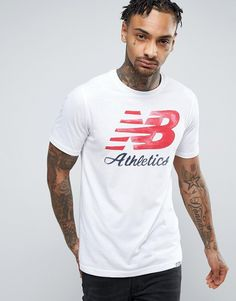 Get this New Balance's printed t-shirt now! Click for more details. Worldwide shipping. New Balance Heritage Logo T-Shirt In White MT71508_WT - White: T-shirt by New Balance, Lightweight jersey, Crew neck, Short sleeves, New Balance logo to front, Fixed cuffs, Regular fit - true to size, Machine wash, 60% Cotton, 40% Polyester, Our model wears a size Medium and is 185.5cm/6'1 tall, Supplier code: MT71508_WT. Boston based brand, New Balance began life in the 1900s as an arch support company…