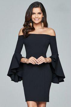 Faviana - S8076 Off Shoulder Short Crepe Cocktail Dress in Black (bell sleeves, back zipper closure, natural waist, sheath silhouette)