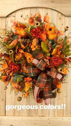 Fall Mesh Wreaths, Autumn Wreaths For Front Door, Diy Fall Wreath, Door Wreaths, Thanksgiving Wreaths, Thanksgiving Decorations, Outside Fall Decorations, Sunflower Wreaths, Fall Flowers