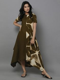 Olive Green Clamp Dyed Cotton Dress