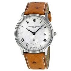 Frederique Constant Slim Line White Dial Brown Leather Strap Mens Watch FC-245M4S6OS Frederique Constant. $495.00. Brown Calfskin Strap. Round Stainless Steel Case. Quartz. Date. Water Resistance : 10 ATM / 100 meters / 330 feet