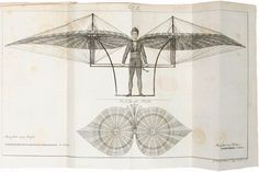 """slickwhippet:  Johann Christoph Stelzhammer, """"Ueber die Flugmaschine des Uhrmachers Jakob Degen in Wien/On the flying machine of the watchmaker Jakob Degen in Vienna,"""" from the Annalen der Physik und der Physikalischen Chemie (1808). The pilot of the """"Degen Ornithopter"""" operated a pair of movable wings, which flapped up and down like a bird's wings."""
