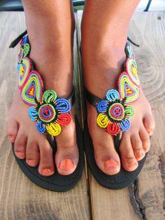 African Handmade Leather Maasai Sandals / Made In Kenya