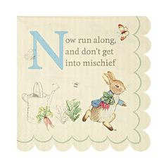 Featuring the ever mischievous Peter Rabbit, this charming party napkin uses…