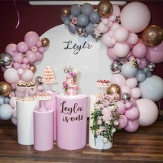 𝓛𝓮𝔂𝓵𝓪 𝓲𝓼 𝓞𝓷𝓮 in this fun setup we created over the weekend here Styling & Props Photography… Balloon Garland, Balloon Decorations, Birthday Party Decorations, Birthday Parties, Wedding Decorations, Baby Shower Printables, Baby Shower Themes, Baby Shower Decorations, Deco Ballon