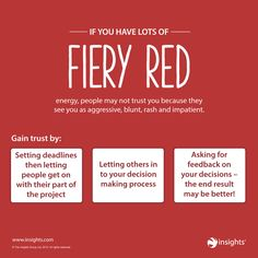 Are some people wary of that Fiery Red energy? Win them over with these hints and tips... Insights Discovery