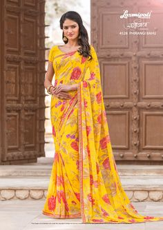 60b4a2b215 Browse this Admirable Yellow #Georgette #Casual_Wear #Saree and Yellow  Colour Georgette Blouse along · Laxmipati SareesGeorgette SareesBuy ...