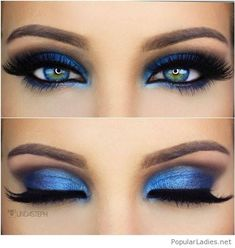 Sweet blue eye makeup style