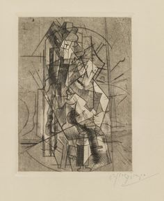 "Pablo Picasso (1881-1973) Man with Guitar 1915, published 1929 Engraving, drypoint, and aquatint Dimensions plate: 6 1/8 x 4 1/2"" (15.5 x 11.5 cm); sheet (irreg.): 11 1/8 x 7 5/8"" (28.3 x 19.4 cm) Credit Gift of Mr. and Mrs. Walter Bareiss Object number 146.1954 MoMA"