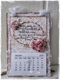 Calendar by LLC DT Member Elin Torbergsen, using papers from Maja Design's Sofiero collection.