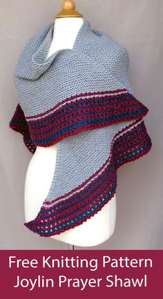 """Free knitting pattern for triangular shawl knit in garter stitch with striped eyelet border. 3 sizes 50 x 24 (58 x 28, 62 x 30)"""". Designed Emily Johannes for Chronic Joy Ministries. Knit for personal use or donate to Chronic Joy Ministries. Aran weight yarn. Knitting For Charity, Free Knitting, Aran Weight Yarn, Prayer Shawl, Garter Stitch, Crafty Craft, Knitting Patterns, Prayers, Crochet Hats"""