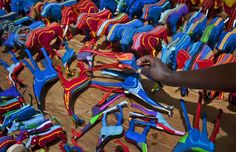Hundreds of discarded flip flops wash up on Kenyas beaches each day. A small recycling company in Nairobi, Ocean Sole, is cleaning up the beaches and recycling the colorful footwear into toys, photo frames and other sculptures for sale and profiting local craftsmen.