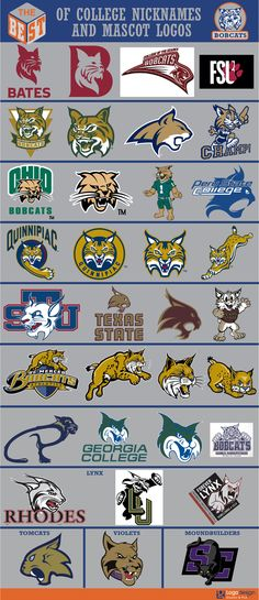 The Best of College Nicknames and Mascots logos Sports Decals, Sports Art, Sports Logos, College Football Logos, College Sport, Bobcat Pictures, Fantasy Football Funny, Cat Entertainment, Sports Graphic Design