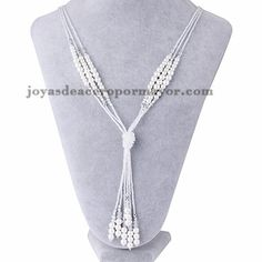 collar de bolas con perlas de plateado para mujer-ACNEG78078