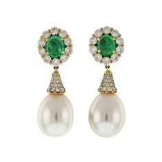 Pearl Drop Cabochon Emerald Diamond Ear Clips | From a unique collection of vintage drop earrings at http://www.1stdibs.com/jewelry/earrings/drop-earrings/