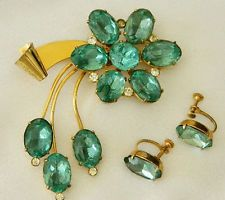 SET Vintage Coro Pegasus Gold over Sterling Silver Rhinestone Flower Ribbon Broo