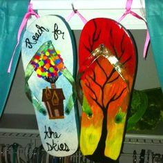 Acrylic Paint and Gloss Flip Flops. Fun Summer Art Project