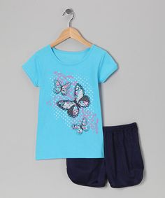 S.W.A.K. Blue Butterfly Tee & Black Shorts - Toddler   zulily