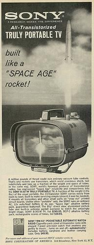 """1962 Ad, Sony All-Transistorized Portable TV, """"Built Like a 'Space Age' Rocket"""""""