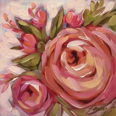 Floreale pittura pittura a olio impressionista di LaveryART