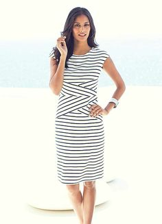Shop for Cruisewear Nautical Looks, Cruise Wear, Striped Jersey, Hobbs, Slim Legs, Blue Fashion, Smart Casual, Bodycon Dress, Dresses For Work