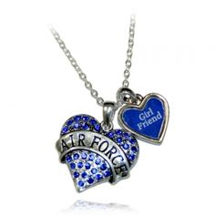 Air Force Heart Necklace with Girlfriend Charm | U.S. Air Force Academy Association of Graduates Gift Shop