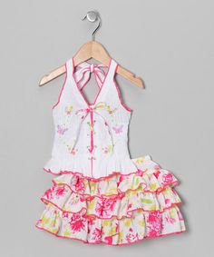 Take a look at this White Butterfly Halter Top & Skirt - Toddler & Girls by Lele for Kids on #zulily today!