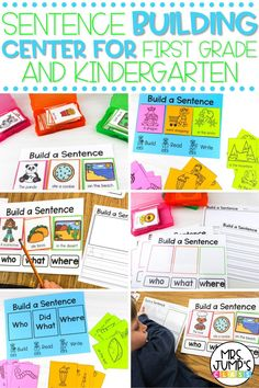 These sentence building activities for first grade make a great literacy center. In this first grade literacy center, students will create who, what, where sentences by choosing different pieces. Then, they can write their sentence on provided first grade writing templates.