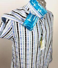 Robert Graham Men Shirt Size Trenton Blue Teal Stripe Flip Data Computer New Robert Graham, Men Shirt, Teal, Blue, Sleeves, Shirts, Women, Fashion, Man Shirt