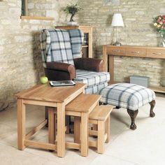 mobel solid oak nest of 3 coffee tables