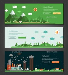 Flat Design Natural And Ecological Landscapes by decorwm Modern vector flat design conceptual natural and ecologicallandscapes banners set