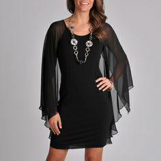 @Overstock.com - Grace Elements Women's Sheer Overlay Cape Dress - Turn heads your way while wearing this Grace Elements black dress. With its unique sheer cape sleeves and attractive scoop neckline, this little black dress is destined to become your favorite ensemble. A hint of spandex allows for the perfect fit.  http://www.overstock.com/Clothing-Shoes/Grace-Elements-Womens-Sheer-Overlay-Cape-Dress/6972183/product.html?CID=214117 $62.99