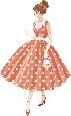 "Photo from album ""Ретро"" on Yandex. Retro Mode, Vintage Mode, Vintage Girls, 1950s Fashion, Fashion Art, Girl Fashion, Vintage Fashion, Vintage Outfits, Vintage Dresses"