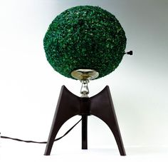 Atomic Globe Table Lamp w/ Tripod Base and green Polymer Chip Shape (SOLD)