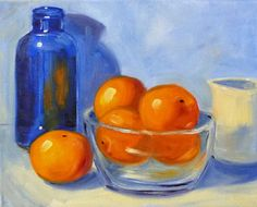 Still Life Oil Painting, Original Kitchen Art on Canvas, 8x10, Oranges and Blue Glass, Kitchen Decor, Tropical Fruit. $100.00, via Etsy.