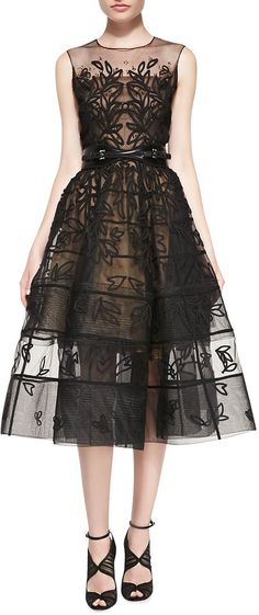 Oscar de la Renta Embroidered Mesh Dress
