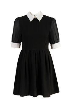 Retro Lapel Neck Black Dress #romwe